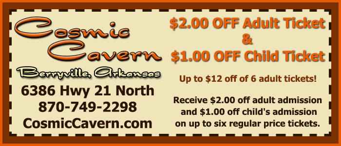 Cosmic Cavern - Berryville, Arkansas - Coupon